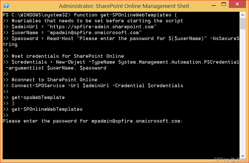 Get SharePoint Online web templates with PowerShell