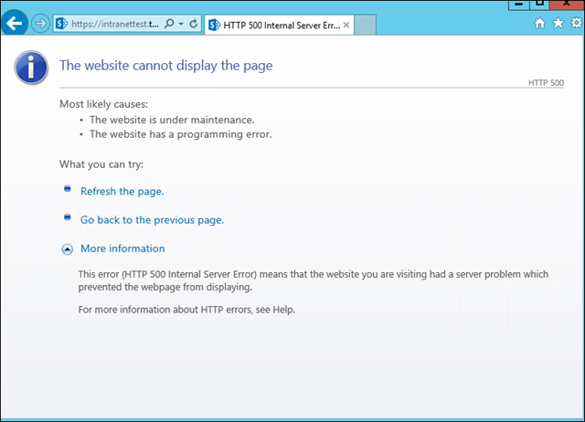 SharePoint error: The website cannot display the page