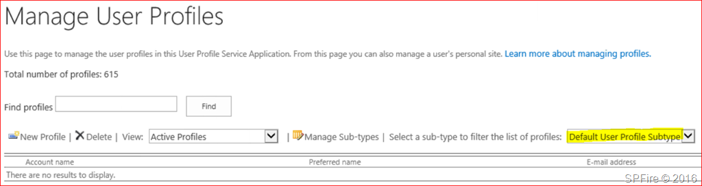 Get SharePoint profiles in the Default User Profile Subtype